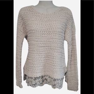 NWT S SOFT knit Almost Famous lace cream sweater